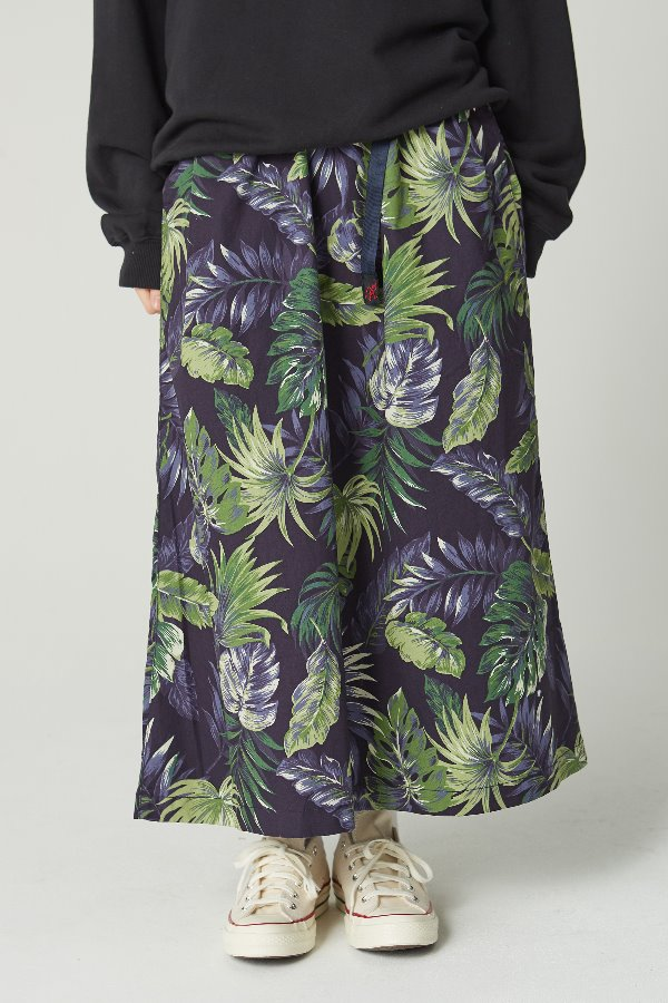 WEATHER LONG FLARE SKIRT BOTANICAL NAVY