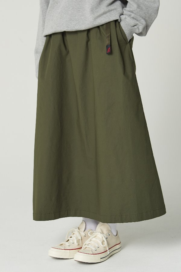 WEATHER LONG FLARE SKIRT DEEP OLIVE